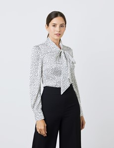 Women's White & Black Small Spots Print Satin Blouse - Single Cuff - Pussy Bow