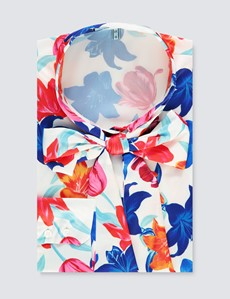 Women's White & Blue Large Floral Print Satin Blouse - Single Cuff - Pussy Bow