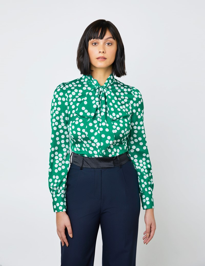 Women's Green & White Spots Print Satin Blouse - Single Cuff - Pussy Bow