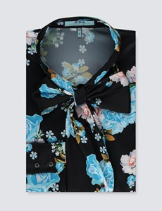 Women's Black & Blue Floral Print Satin Blouse - Single Cuff - Pussy Bow