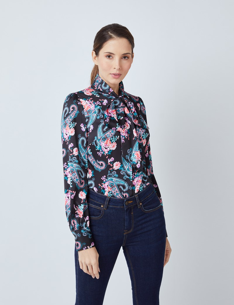 Women's Black & Purple Paisley Floral Print Satin Blouse - Single Cuff - Pussy Bow