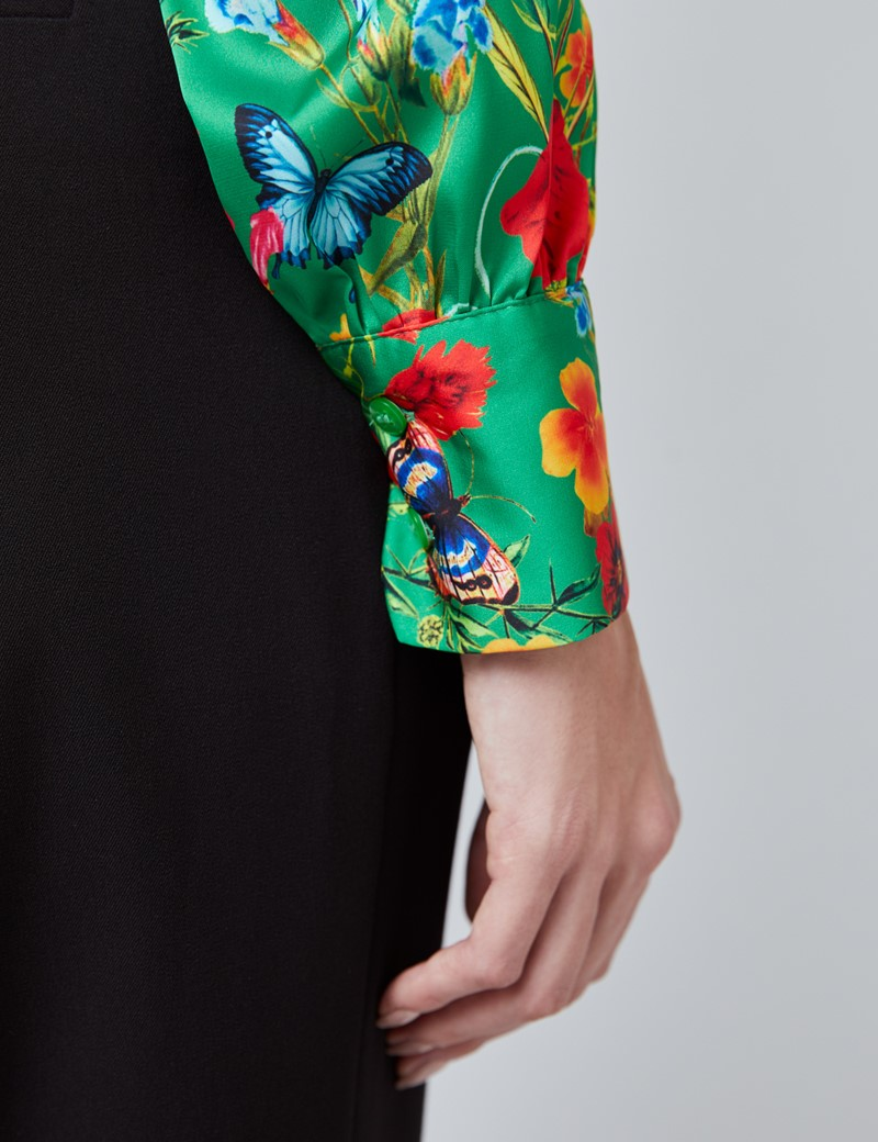 Women's Green & Red Floral Print Satin Blouse - Single Cuff - Pussy Bow