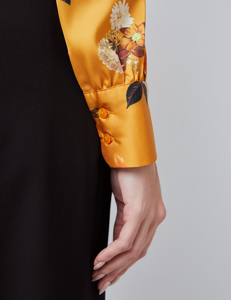 Women's Mustard Winter Blossom Print Satin Blouse - Single Cuff - Pussy Bow