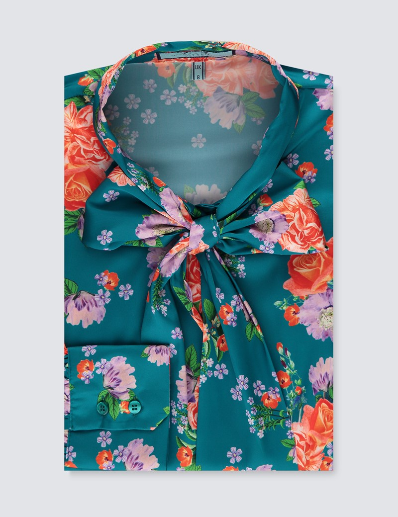 Women's Teal & Red Betsy Roses Print Satin Blouse - Single Cuff - Pussy Bow
