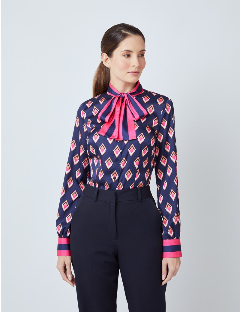 Women's Navy & Orange Hearts Geometric Print Satin Blouse - Single Cuff - Pussy Bow