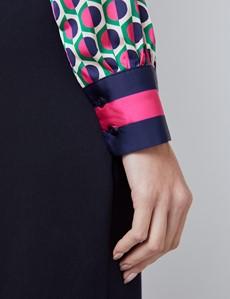Women's Cream & Fuchsia Geometric Print Satin Blouse - Single Cuff - Pussy Bow