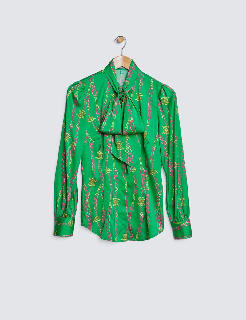 Women's Green & Pink Linked Chains Satin Blouse - Pussy Bow