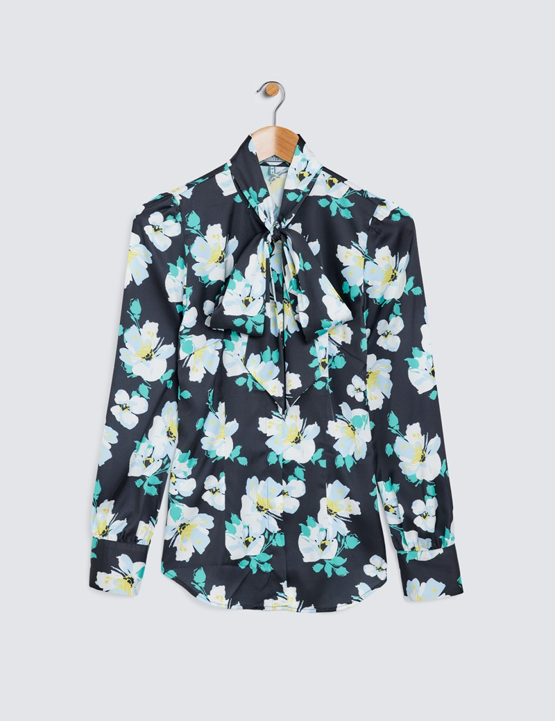 Women's Black & White Tropical Floral Print Pussy Bow Blouse
