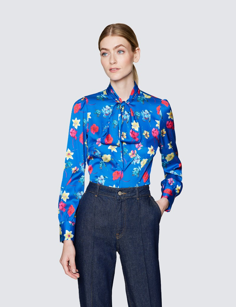 Women's Blue & Pink Floral Print Pussy Bow Blouse