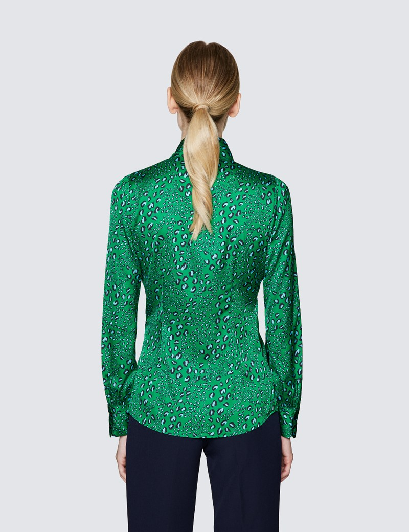 Women's Green & Turquoise Leopard Print Pussy Bow Blouse