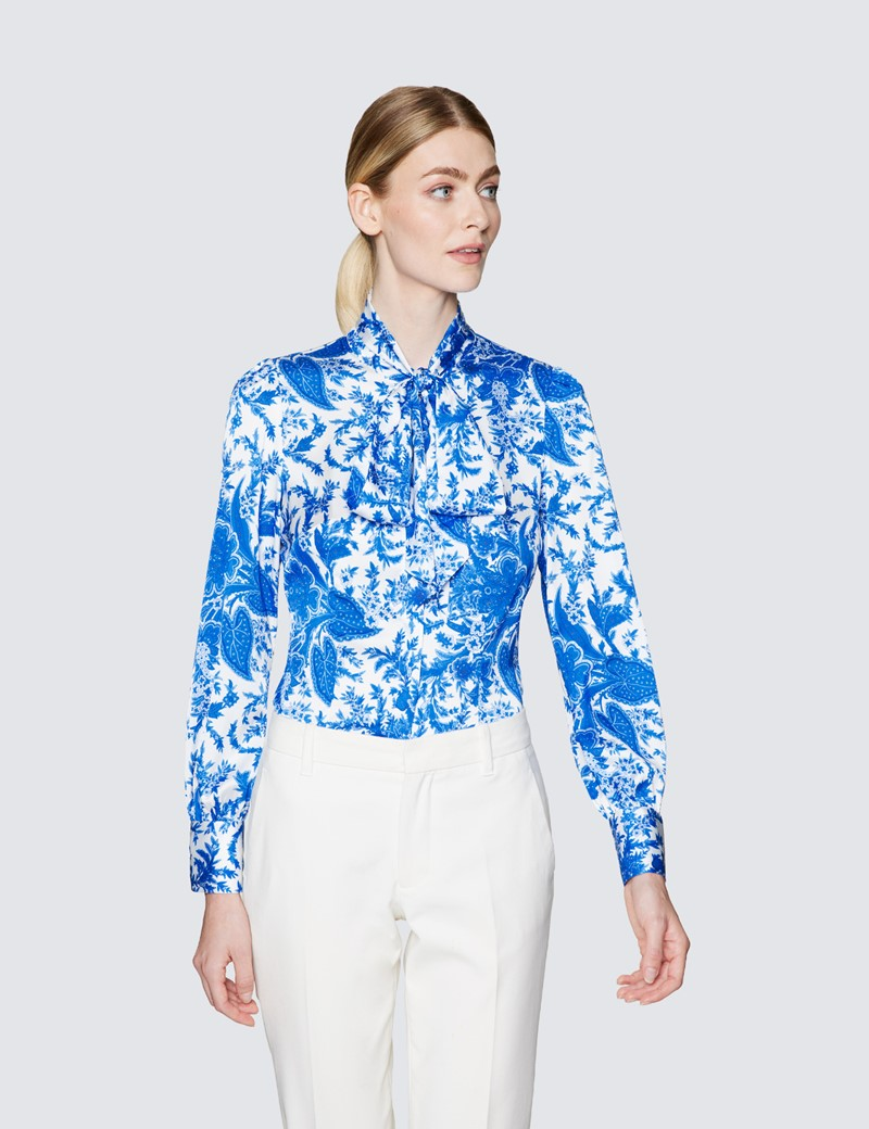 Women's White & Blue Floral Print Pussy Bow Blouse