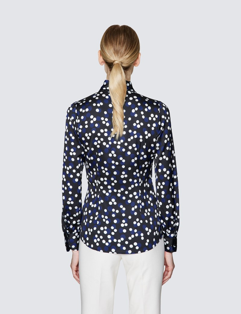 Women's Black & Blue Spot Print Pussy Bow Blouse