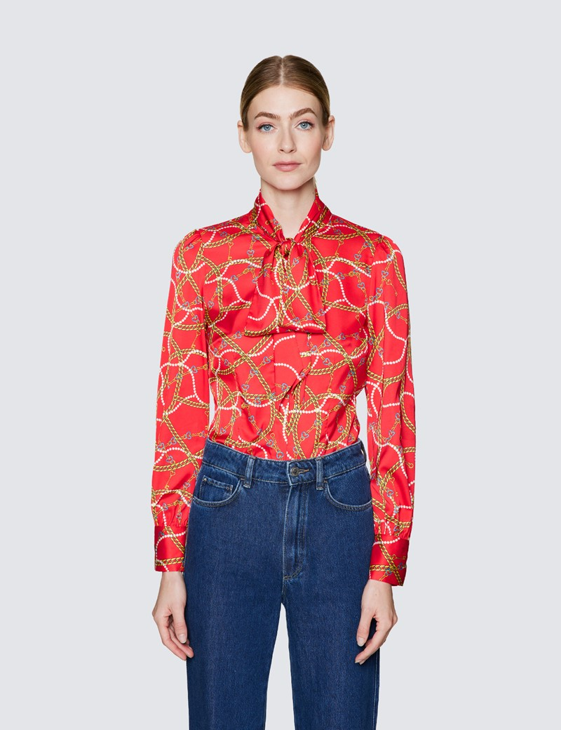 Women's Red & Yellow Chains and Hearts Print Pussy Bow Blouse
