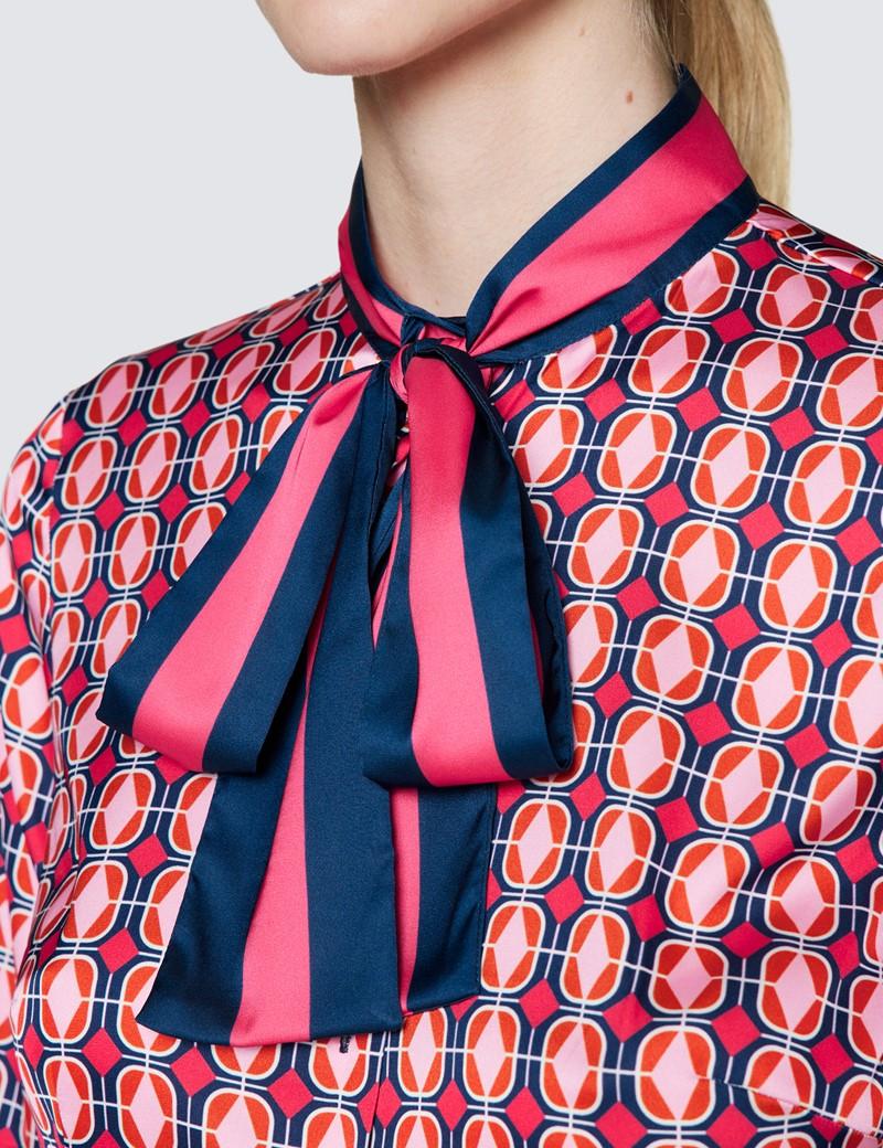 Women's Navy & Pink Diamond Print Pussy Bow Blouse