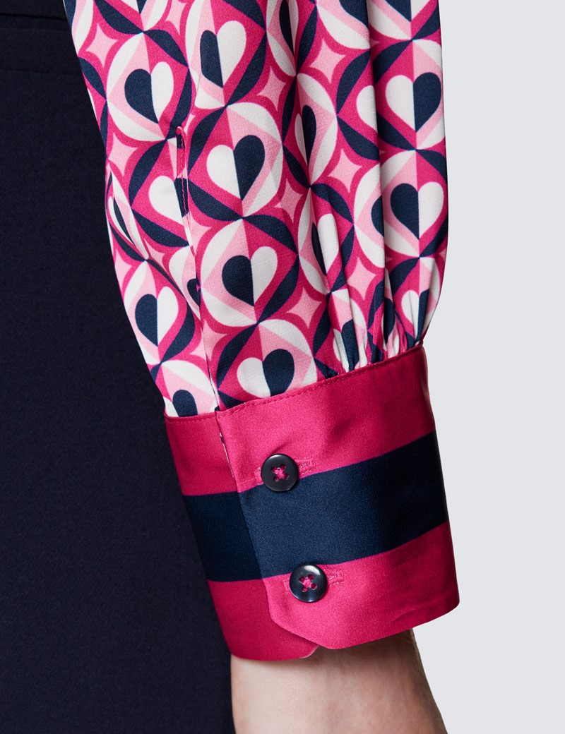 Women's Navy & Pink Heart Print Pussy Bow Blouse