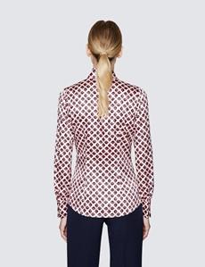 Women's Pink & Black Geometric Print Pussy Bow Blouse