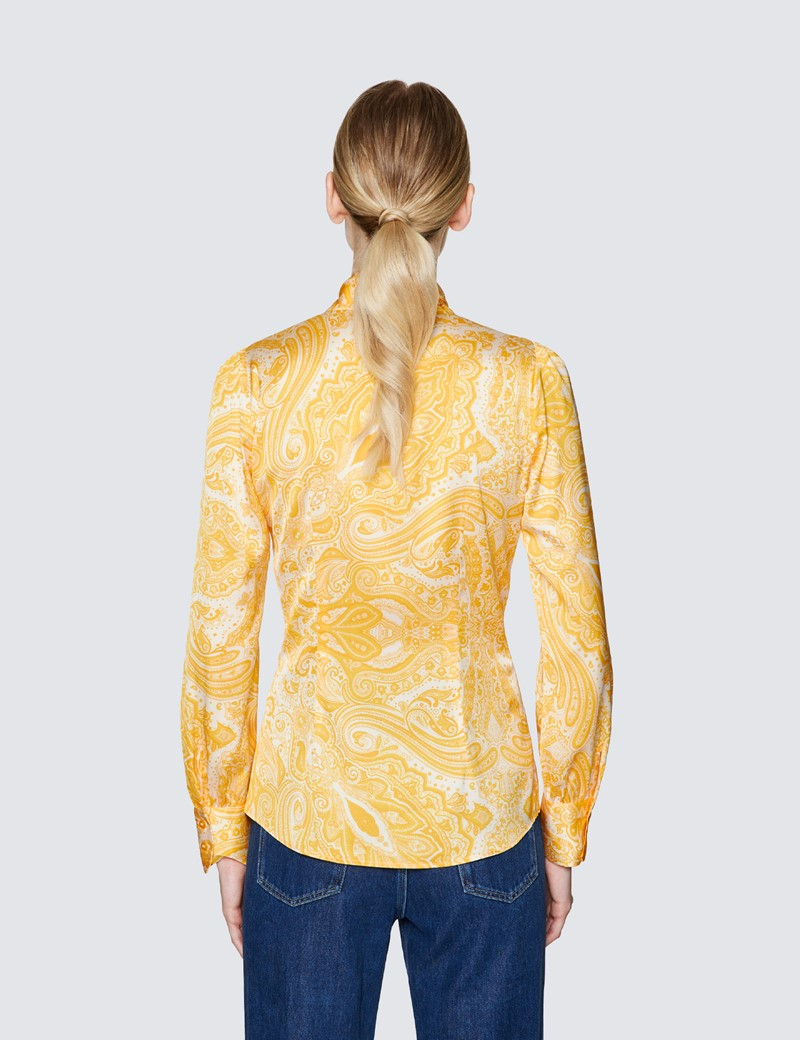 Women's Yellow & White Floral Print Pussy Bow Blouse