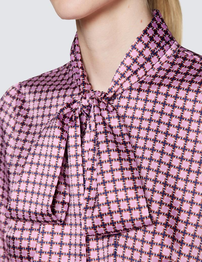 Women's Pink & Blue Geometric Print Pussy Bow Blouse
