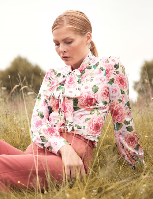 Women's Pink & Green Blossom Print Pussy Bow Rose Blouse