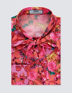 Women's Red & Pink Floral Stripe Fitted Satin Blouse - Single Cuff - Pussy Bow
