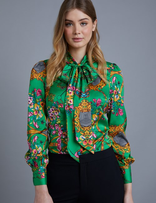 Women's Green Chain Print Fitted Satin Blouse - Single Cuff - Pussy Bow