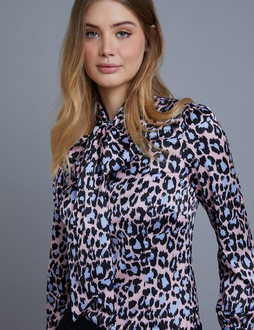 Women's Pastel Pink & Purple Leopard Fitted Satin Blouse - Single Cuff - Pussy Bow