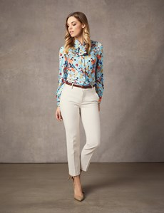 Women's Light Blue & Yellow Horse Jewels Print Fitted Satin Blouse - Single Cuff - Pussy Bow
