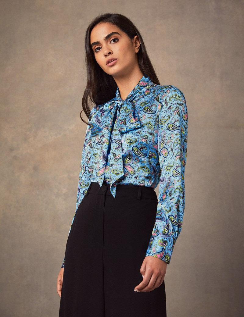 Women's Light Blue & Yellow Paisley Fitted Satin Blouse - Single Cuff - Pussy Bow