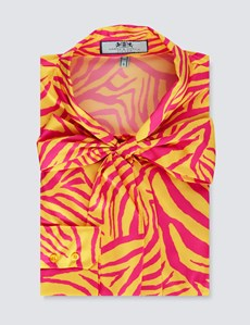 Women's Fuchsia & Gold Tiger Print Fitted Satin Blouse - Single Cuff - Pussy Bow