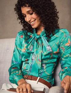 Women's Green & Gold Butterfly Chain Print Fitted Satin Blouse - Single Cuff - Pussy Bow