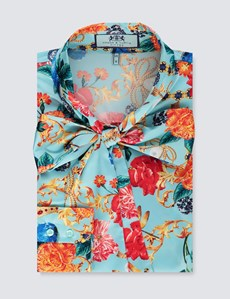 Women's Blue & Red Floral Fitted Satin Blouse - Single Cuff - Pussy Bow
