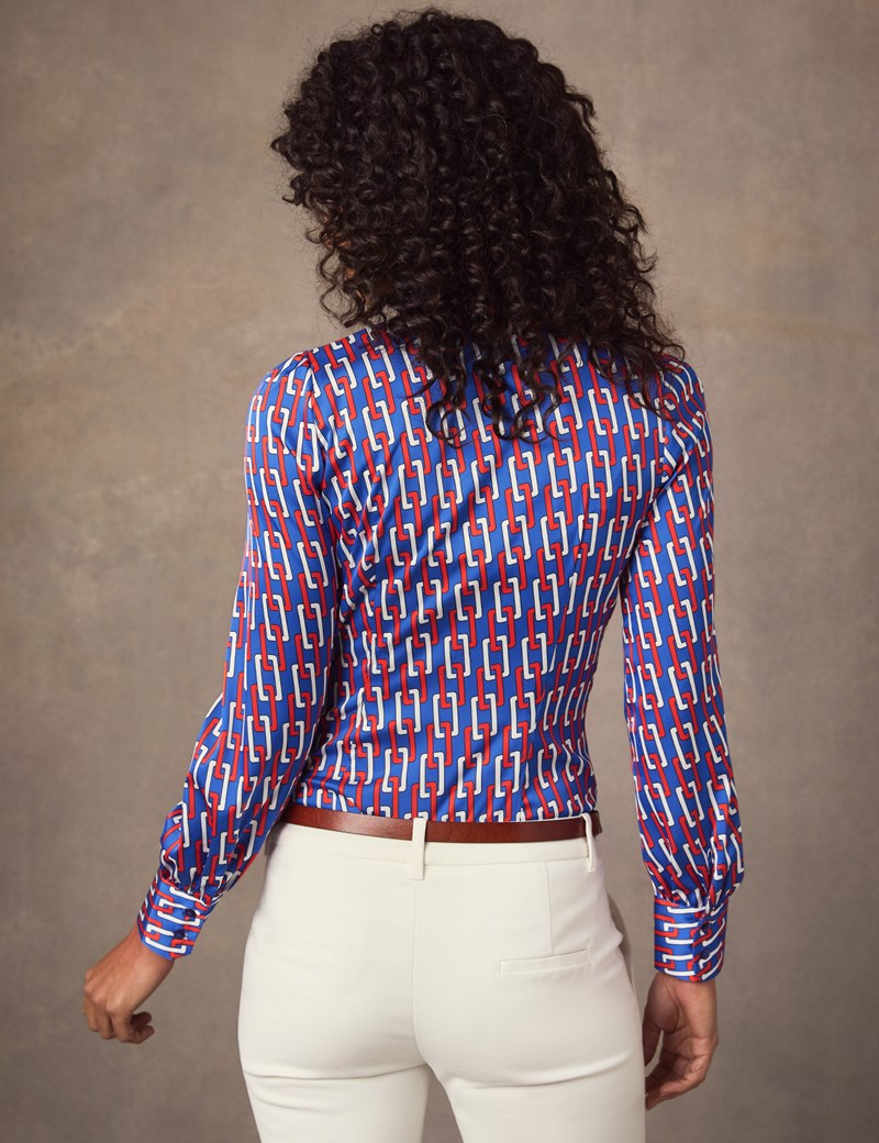 Women's Blue & Red Linked Chains Print Fitted Satin Blouse - Single Cuff - Pussy Bow