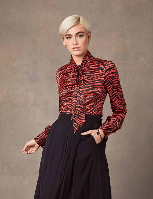 Women's Paprika Animal print Fitted Satin Blouse - Single Cuff - Pussy Bow