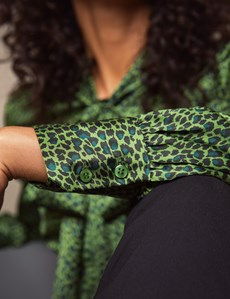 Women's Cactus Green Animal Print Fitted Satin Blouse - Single Cuff - Pussy Bow