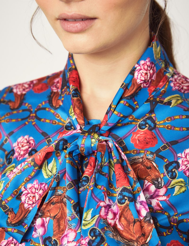 Women's Blue & Pink Horse Print Fitted Satin Blouse - Single Cuff - Pussy Bow