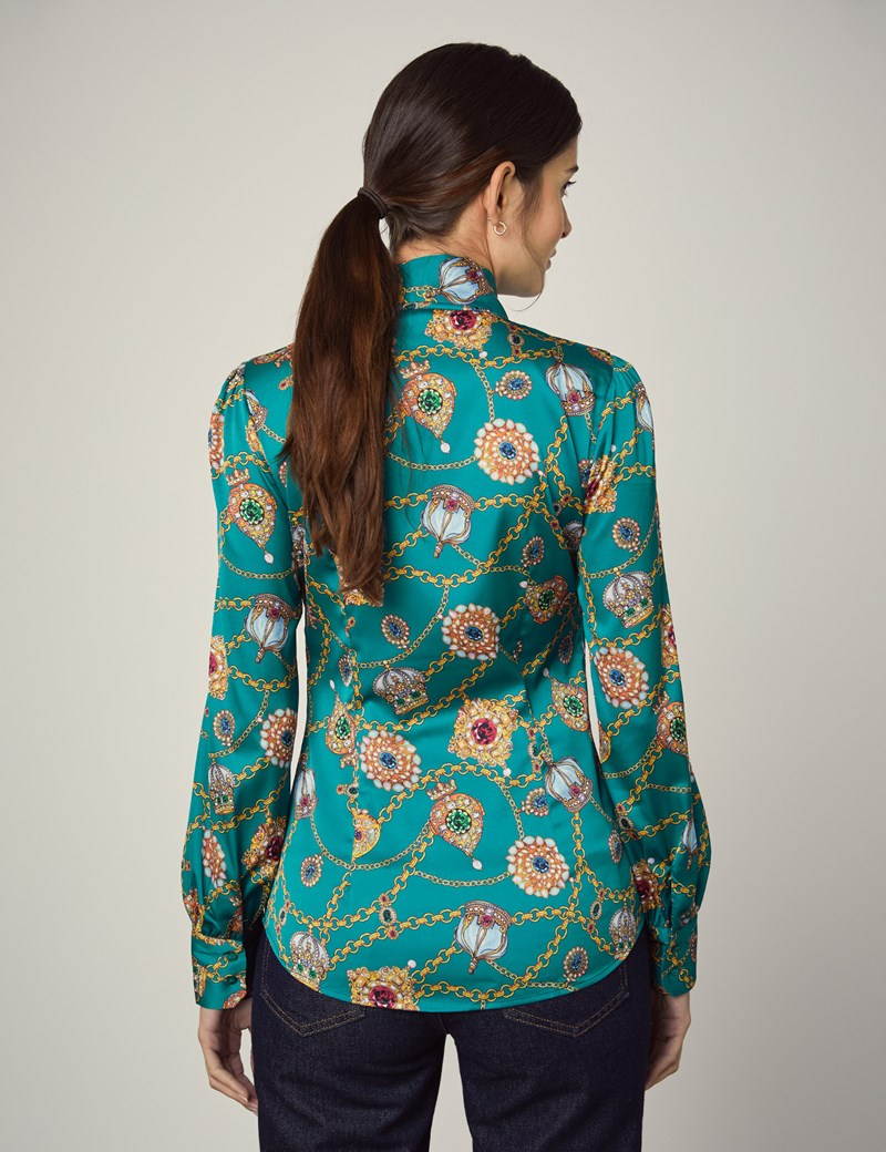 Women's Emerald Green Crown Jewels Fitted Satin Blouse - Single Cuff - Pussy Bow