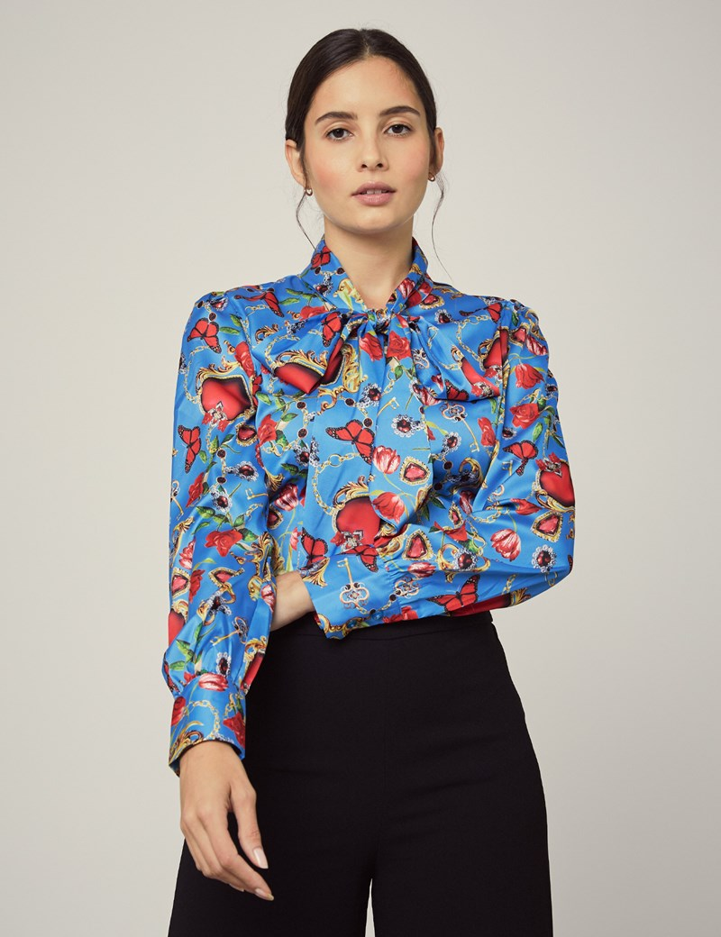 Women's Blue & Red Hearts & Roses Fitted Satin Blouse - Single Cuff - Pussy Bow