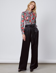 Women's Black & White Floral Fitted Satin Blouse - Single Cuff - Pussy Bow