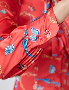 Schluppenbluse – Slim Fit – Satin – Rot Schmetterlinge mit Kettenprint