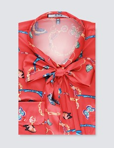 Women's Red Butterfly & Chains Print Fitted Satin Blouse - Single Cuff - Pussy Bow