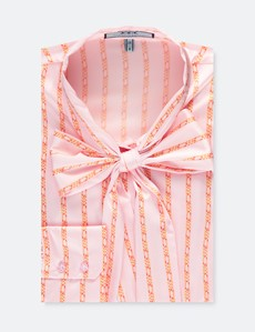 Women's Pink Chain Stripes Fitted Satin Blouse - Single Cuff - Pussy Bow
