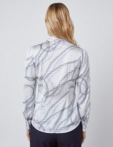 Schluppenbluse – Slim Fit – Satin – Baroque Print weiß & grau