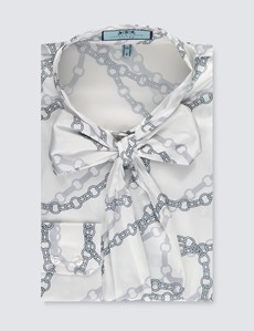Women's White & Grey Chain Print Fitted Satin Blouse - Single Cuff - Pussy Bow