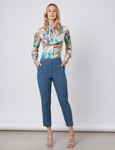 Women's Cream & Green Floral Fitted Satin Blouse - Single Cuff - Pussy Bow
