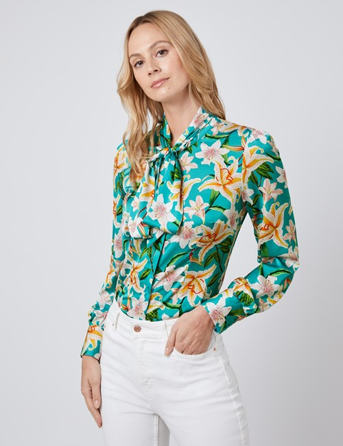 Hawes /& Curtis Women/'s Long Sleeve Mustard Floral Relaxed Fit Shirt Single Cuff