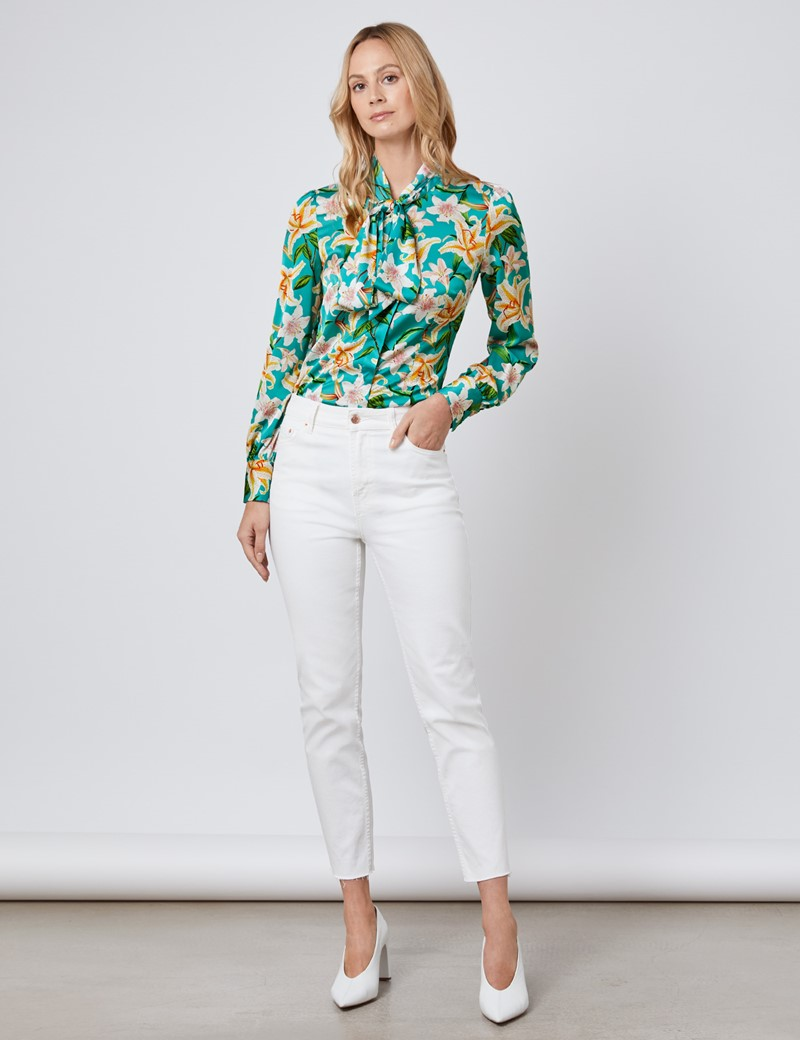 Women's Emerald Green Tropical Floral Fitted Satin Blouse - Single Cuff - Pussy Bow