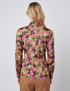 Women's Pink & Yellow Floral Fitted Satin Blouse - Single Cuff - Pussy Bow