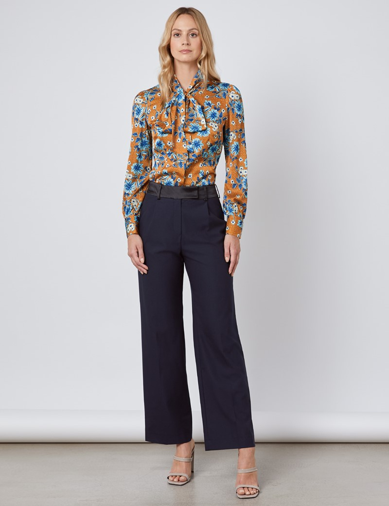 Women's Brown & Blue Floral Fitted Satin Blouse - Single Cuff - Pussy Bow