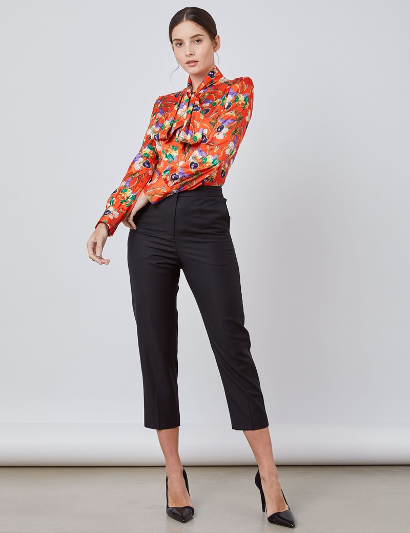 Women's Orange & Purple Floral Jewelry Fitted Satin Blouse - Single Cuff - Pussy Bow