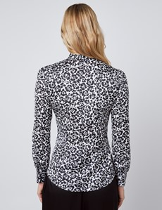 Women's Black & White Animal Print Fitted Satin Blouse - Single Cuff - Pussy Bow